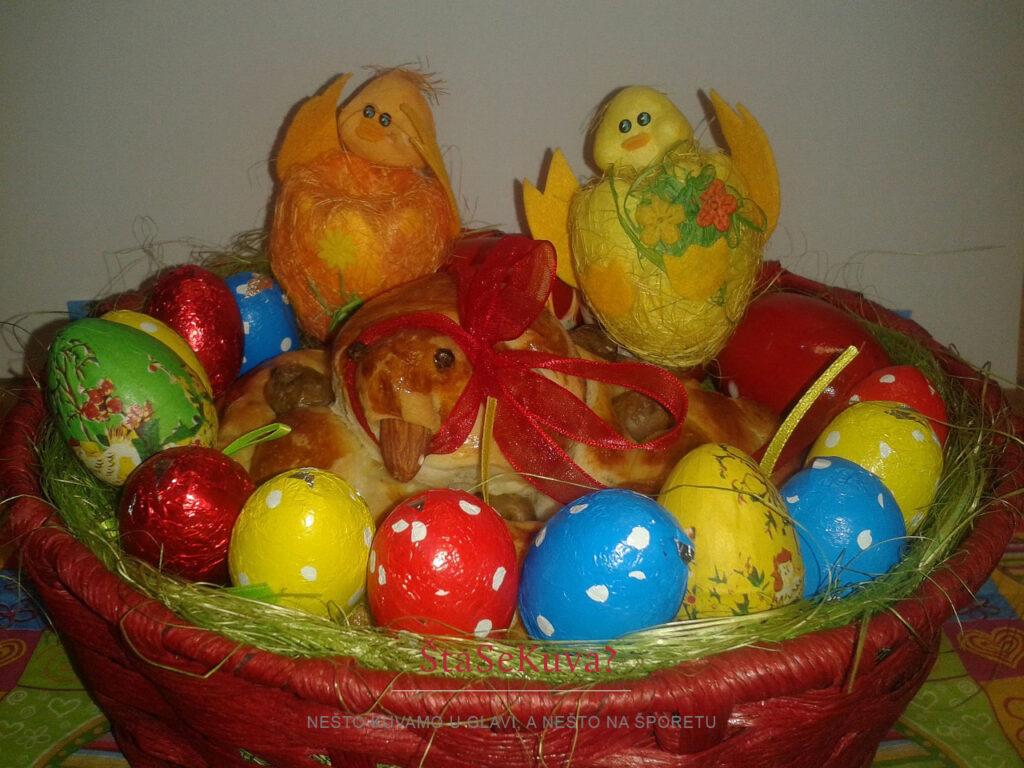 Ptica u gnezdu od testa u korpici sa čokoladnim jajima